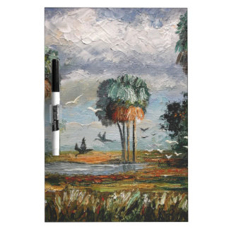 Cabbage Palm Trees and Birds Dry Erase Board