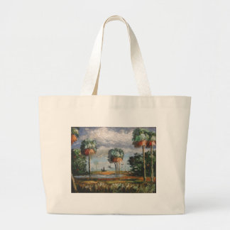 Cabbage Palm Trees and Birds Large Tote Bag