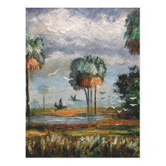 Cabbage Palm Trees and Birds Postcard