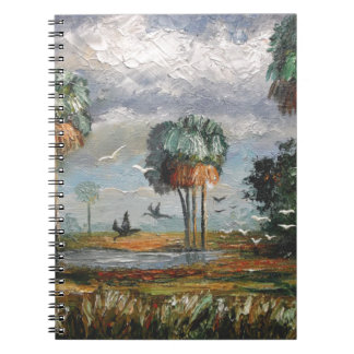 Cabbage Palm Trees and Birds Spiral Notebook
