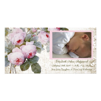 Cabbage Rose Birth Announcement - Baby Girl Customized Photo Card