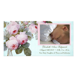 Cabbage Rose Birth Announcement - Baby Girl Picture Card