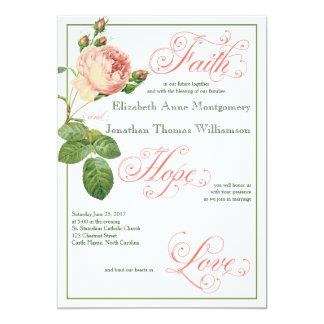Cabbage Rose Christian Wedding Invitation