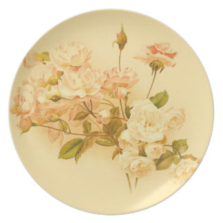 Cabbage Rose Flowers Plate