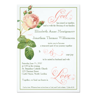 Cabbage Rose God is Love Wedding Invitation
