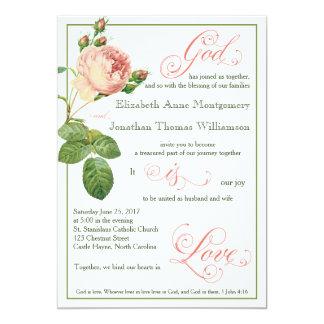 Cabbage Rose God is Love Wedding Invitation