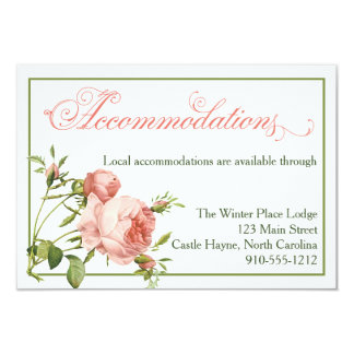 Cabbage Rose Script Wedding Accommodations Card