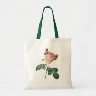 Cabbage Rose Single Stem Rosebud Floral Tote Bag