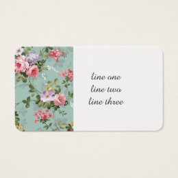 Cabbage Roses on Pale Blue Business Card