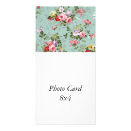 Cabbage Roses on Pale Blue Card