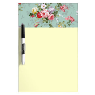 Cabbage Roses on Pale Blue Dry Erase Board