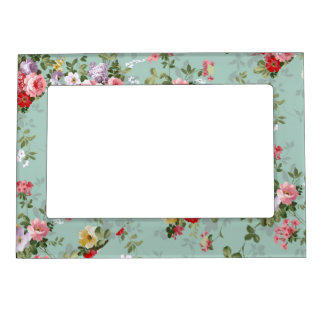Cabbage Roses on Pale Blue Magnetic Picture Frame
