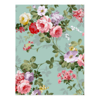 Cabbage Roses on Pale Blue Postcard