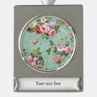 Cabbage Roses on Pale Blue Silver Plated Banner Ornament