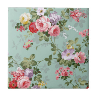 Cabbage Roses on Pale Blue Tile
