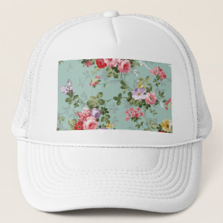 Cabbage Roses on Pale Blue Trucker Hat
