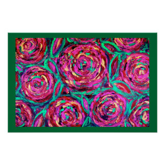 Cabbage Roses With Border Heirloom  Poster
