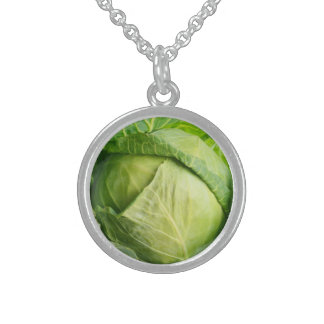 Cabbage Small Sterling Silver Round Necklace