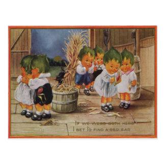 Cabbagehead Barn Cornstalk Full Moon Postcard