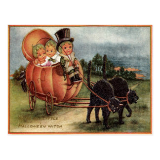 Cabbagehead Pumpkin Carriage Black Cat Postcard