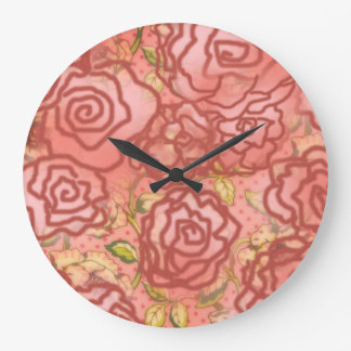 CabbageRoses Wall Clock
