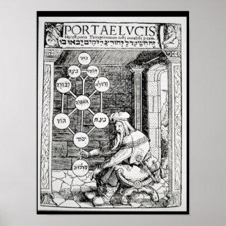Cabbalist judío que lleva a cabo un sephiroth posters