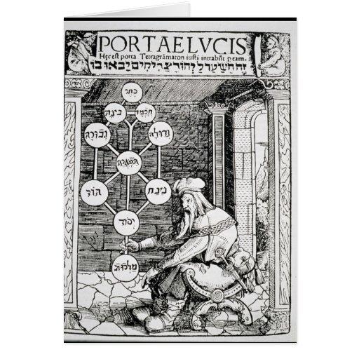 Cabbalist judío que lleva a cabo un sephiroth tarjetón