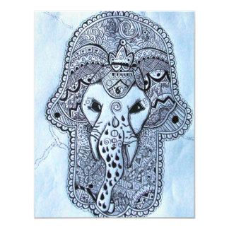 cabeça de elefante de imagem de mão com invitación 10,8 x 13,9 cm