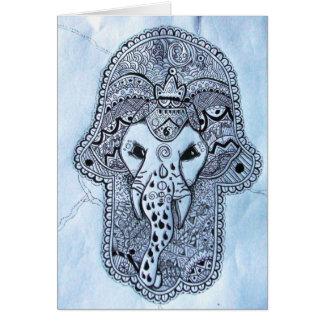 cabeça de elefante de imagem de mão com tarjeta de felicitación