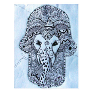 cabeça de elefante de imagem de mão com postal
