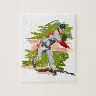 Cabeceo de la jarra del béisbol rompecabezas con fotos