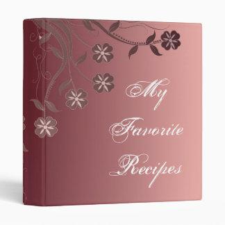 Cabernet & Candy Pink Floral Swirl Recipe Book Binder