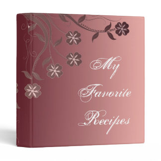 Cabernet & Candy Pink Floral Swirl Recipe Book Binder