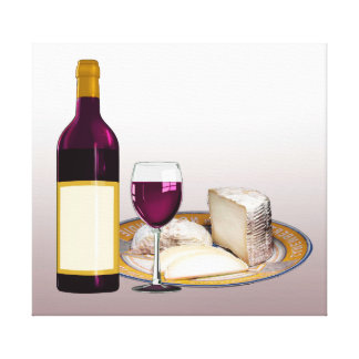 CABERNET RED WINE GLASS BOTTLE, CAMEMBERT CHEESE CANVAS PRINT