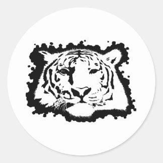 Cabeza 2 del tigre etiquetas redondas
