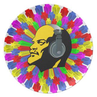 Cabeza abstracta de Lenin en círculo de la estrell Platos