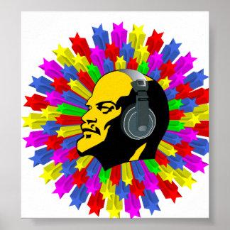 Cabeza abstracta de Lenin en círculo de la estrell Póster