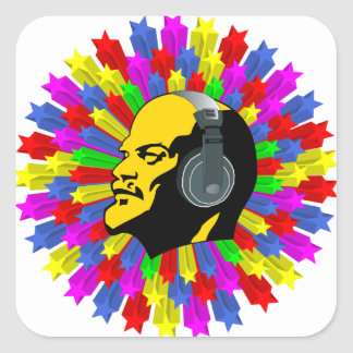 Cabeza abstracta de Lenin en círculo de la Pegatina Cuadrada