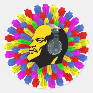 Cabeza abstracta de Lenin en círculo de la Pegatina Redonda