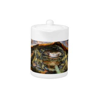 Cabeza adornada de la tortuga de madera encendido