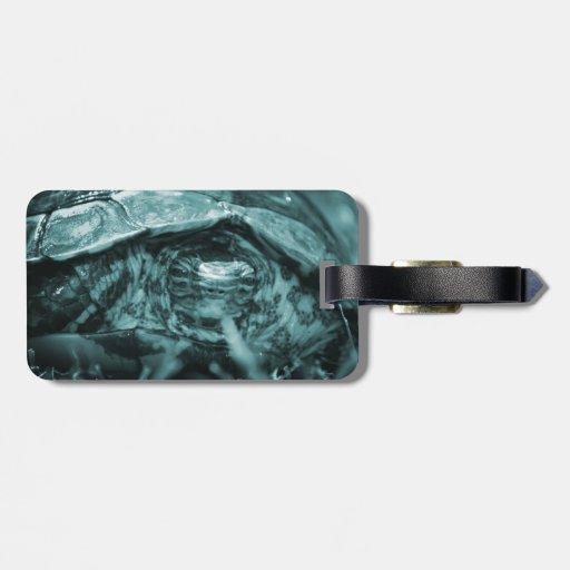 Cabeza adornada de la tortuga de madera encendido  etiquetas para equipaje