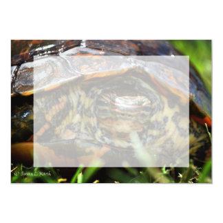 """Cabeza adornada de la tortuga de madera encendido invitación 5"""" x 7"""""""