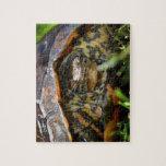 Cabeza adornada de la tortuga de madera encendido  rompecabezas con fotos