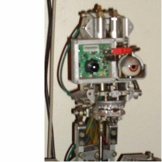 Cabeza afortunada del robot fotoescultura vertical