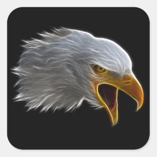 Cabeza americana de griterío de Eagle calvo Pegatina Cuadrada