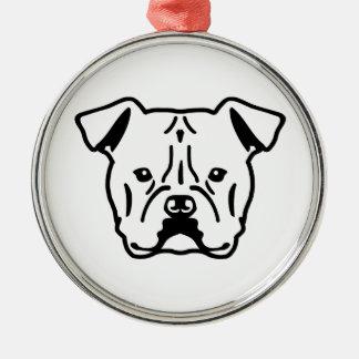 Cabeza americana del dogo adorno navideño redondo de metal