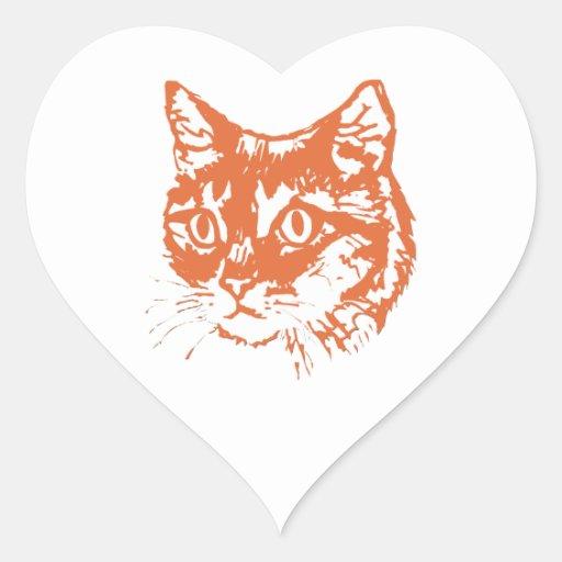 Cabeza anaranjada del gato del gatito calcomania de corazon
