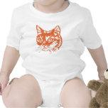 Cabeza anaranjada del gato del gatito traje de bebé
