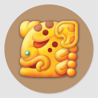 Cabeza ardiente del animal del maya etiquetas redondas