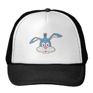 Cabeza azul del conejo gorros bordados
